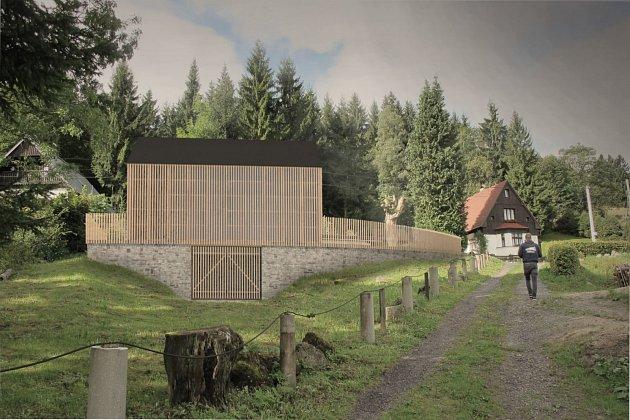 Garáž v CHKO vycházející z architektonicko-historického kontextu navržená ve spolupráci s NPÚ