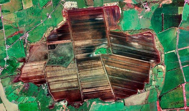 Pohled z ptačí perspektivy na těžbu rašeliny.