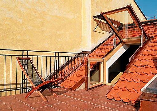 střešní okna, terasa