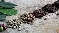 Pražením kávová zrna postupně tmavnou.