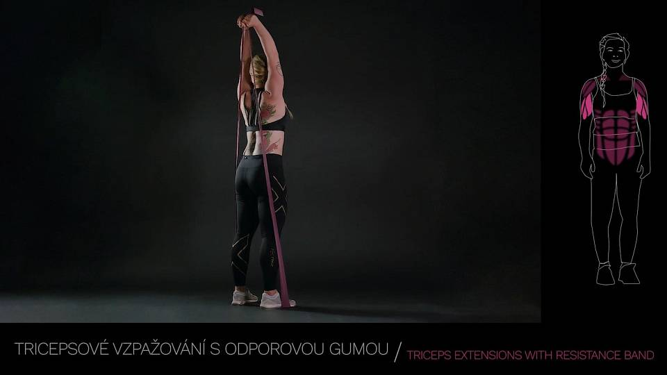 Tricepsové tlaky s odporovou gumou / TRICEPS EXTENSIONS WITH RESISTANCE BAND