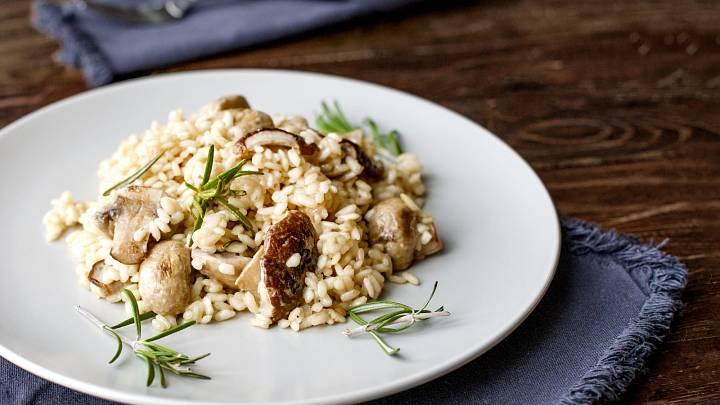 Zdravé houbové rizoto s kuřecím masem