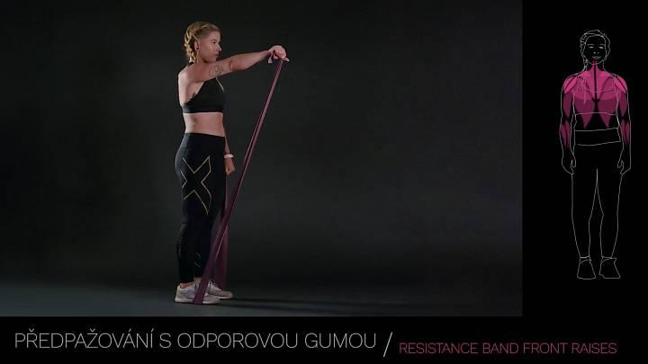 Předpažování s odporovou gumou / resistance band front raises