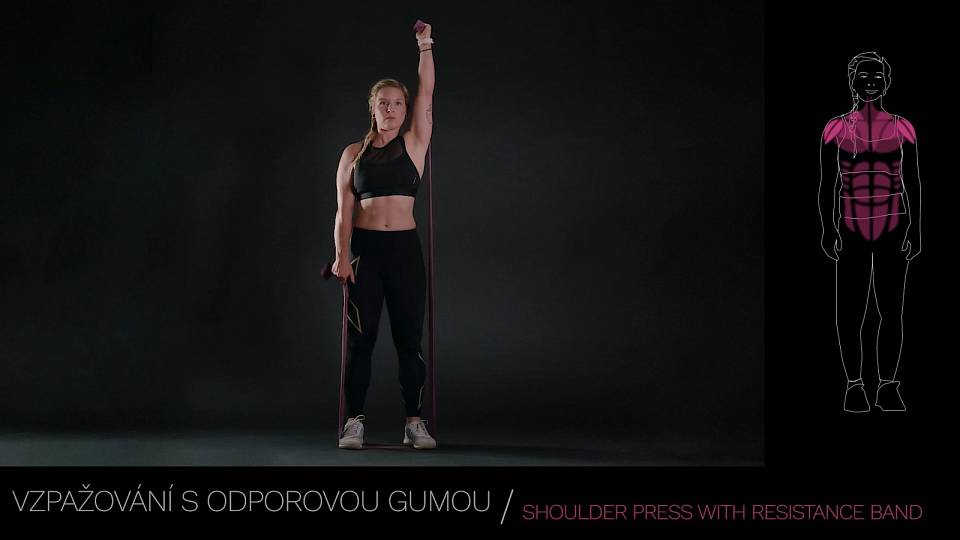 Tlak s odporovou gumou / Shoulder press with resistance band