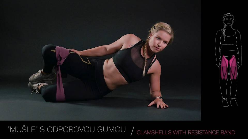 Mušle s odporovou gumou / clamshells kicks with resistance band