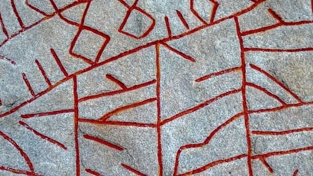 Detail jedinečného kamene Rök