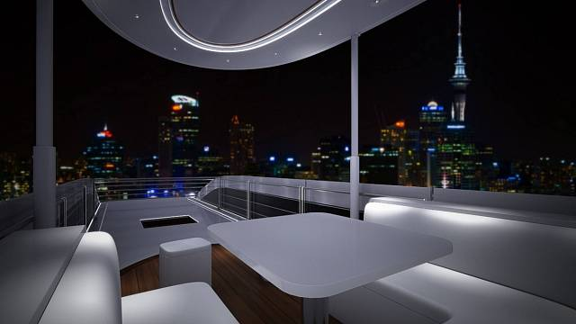 Střešní terasa Sky Lounge je nejvýraznějším rysem Karavanů Palazzo