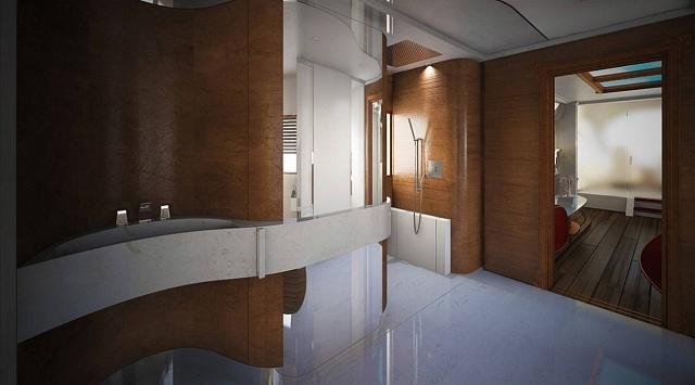 Koupelna se zasklenou dešťovou sprchou velikosti 1,5metru čtverečních a světelnou terapií
