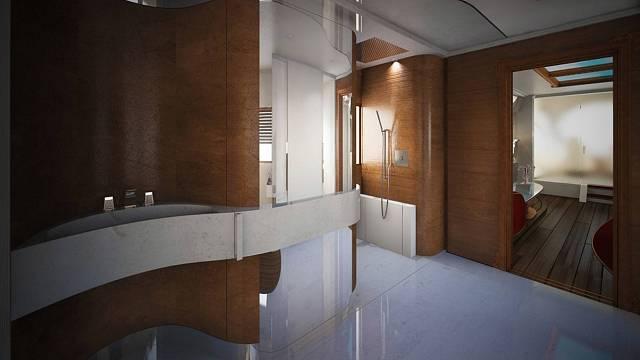 Koupelna se zasklenou dešťovou sprchou velikosti 1,5 metru čtverečních a světelnou terapií
