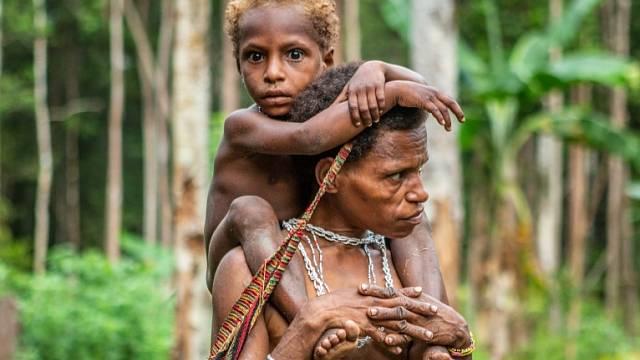 Již malé děti Korowaiů se učí pohybovat mrštně v korunách stromů