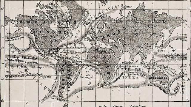 Mapa světa s oceánskými proudy