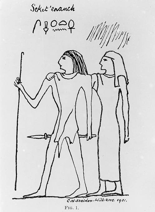 Kresba egyptského lékaře a jeho ženy z 5. egyptské dynastie (někdy též označovaná jako dynastie slunečních králů).