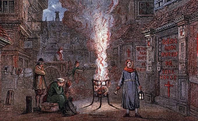 V ulicích se zapalovaly ohně, aby pročistily ovzduší.