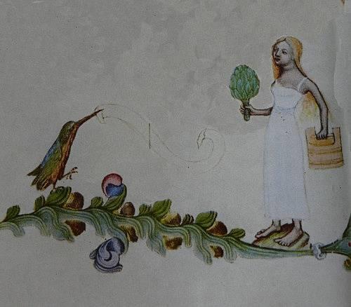 Ledňáček a lazebnice z bordury Bible Václava IV.