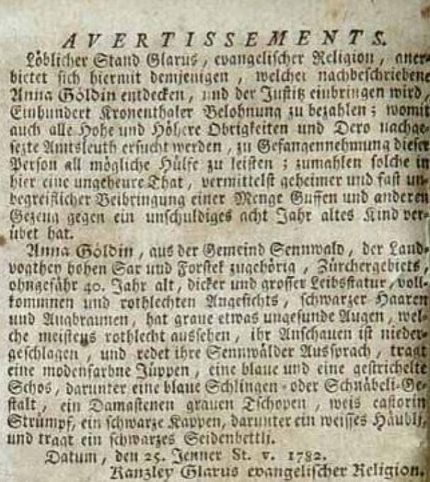 Leták slibující odměnu za dopadení domnělé čarodějnice Anny Göldi.