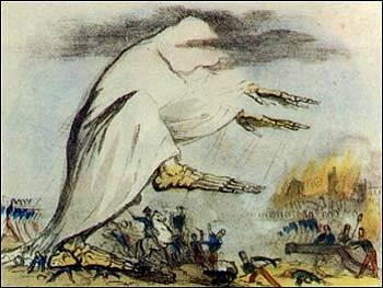 Reprezentace Roberta Seymoura z 19. století zobrazuje šíření nemoci ve formě jedovatého vzduchu.