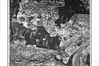 Letecký snímek koncentračního tábora Bromberg-Ost (pobočný tábor Stutthofu).