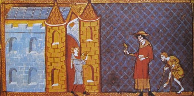 Malomocní nesmějí vstoupit do města - historická malba