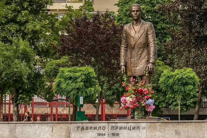 Socha Gavrila Principa v Bělehradě