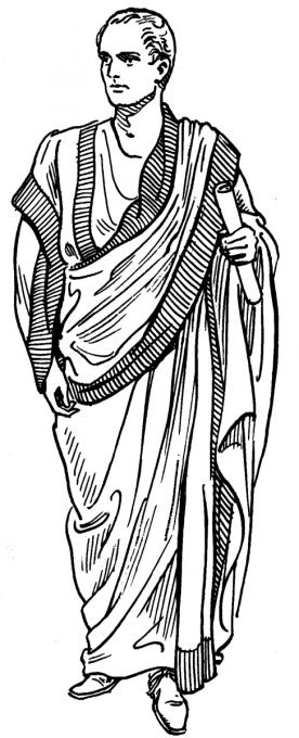 Toga praetexta,  nosili ji vysocí hodnostáři, byla bílá s purpurovým lemem. Toga byl svrchní oděv starověkého římského občana, který se nosil jen na veřejnosti.