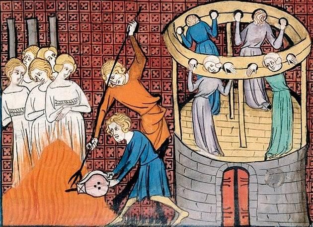 Upálení žen obviněných z čarodějnictví ve 14. století