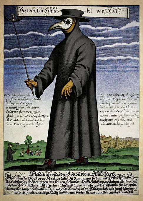 Ochranný oděv pro lékaře v době morové epidemie navrhl lékař Charles de Lorme.
