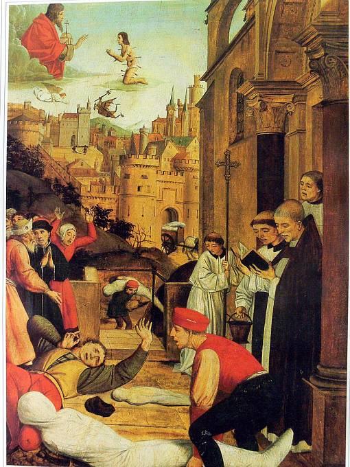Sv. Šebestián oroduje u Ježíše za nemocného morem.