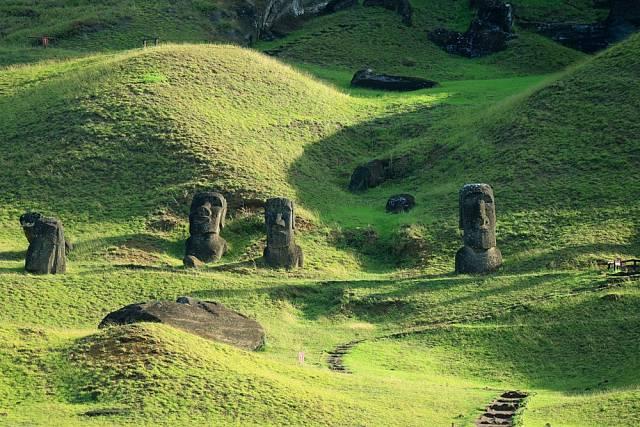 Velkých kamenných soch neboli moai, bylo na ostrově nalezeno 887