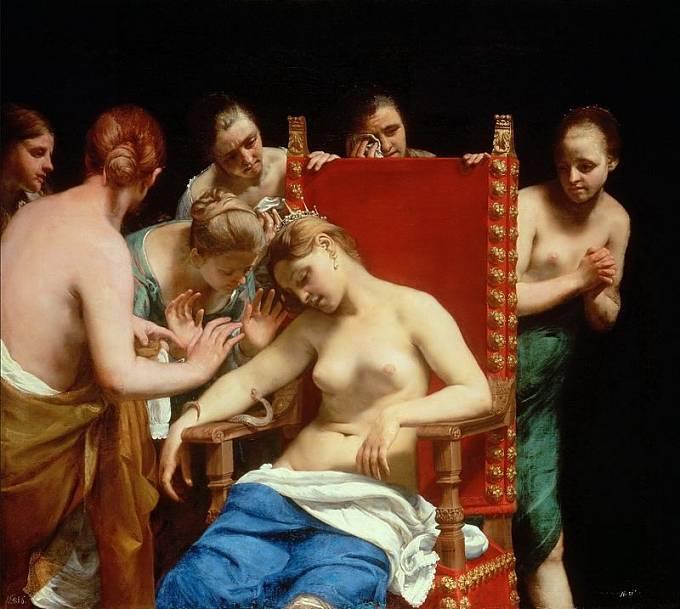 Zobrazování nahoty bylo běžné ještě v baroku. Foto: Smrt Kleopatry, 1658, autor: Guido Cagnacci