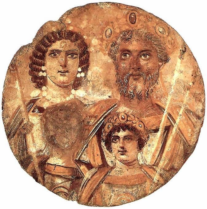 Císař Caracalla s rodiči a bratrem, jehož tvář nechal z obrazu vymazat.
