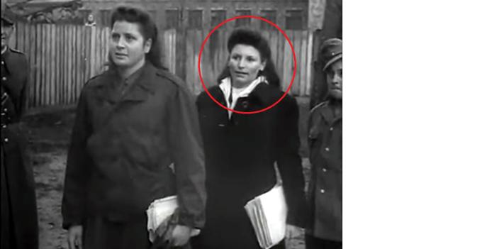 Hildegard Lächert v průběhu soudního procesu Osvětim, listopad 1947.