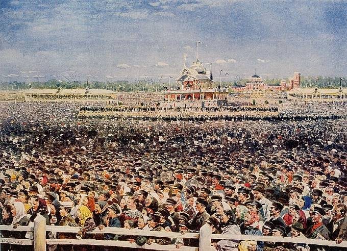 V davu bylo ušlapáno přes 1000 lidí. (Chodynka. Akvarel V. Makovského)