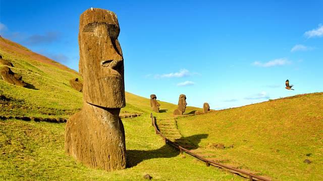 Velké kamenné sochy neboli moai, kterými se Velikonoční ostrov proslavil, byly zhotoveny mezi lety 1250 -1500 našeho letopočtu
