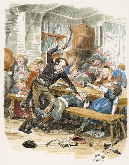 Tělesné tresty ve školách byly běžné až do roku 1870.