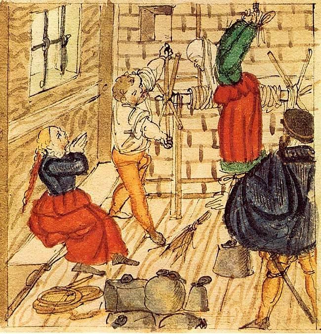 Mučení ženy obviněné z čarodějnictví (1577)