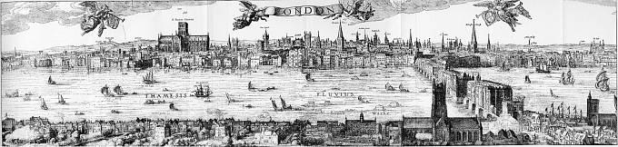 Panoráma Londýna od Claese Van Visschera z roku 1616
