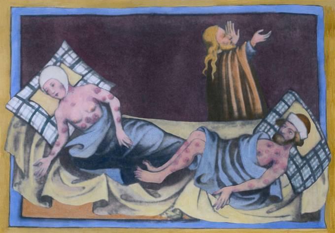 Muž a žena trpící dýmějovým morem, 1411