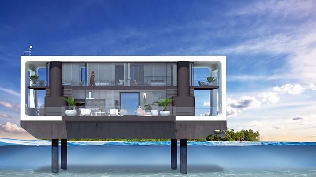 Ambiciózní projekt společnosti Arkup  - plovoucí dům, který se při povodních nebo silném větru dokáže zvednout na hydraulických chůdách