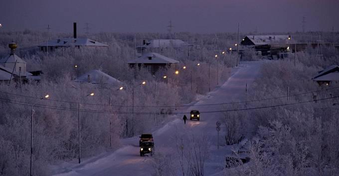 Město Igarka zapadané sněhem
