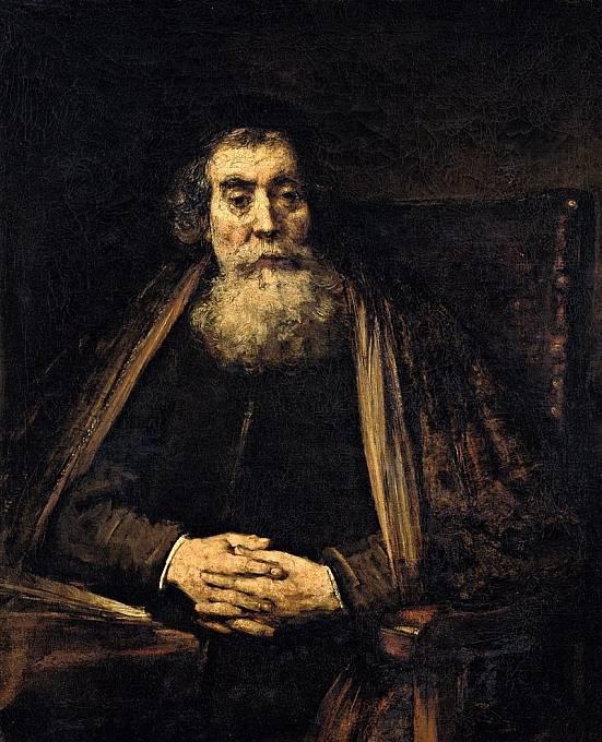 Rembrandtův obraz Starý muž (1665), zřejmě zobrazující Jana Amose Komenského