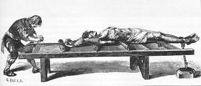 Natahování na žebřík bylo obvyklou formou mučení od 15. do 18. století.