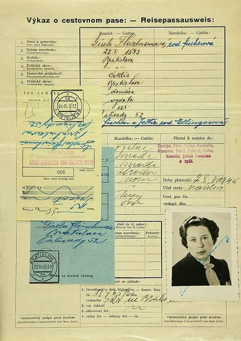 Výkaz o cestovním pase Gisely Fleischmannové roz. Fischerové.