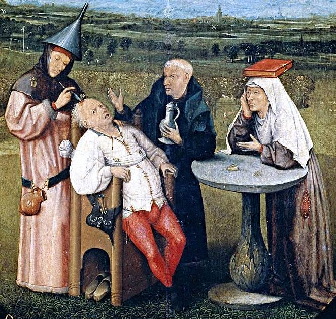 Trepanace zachycená na obraze Hieronyma Bosche
