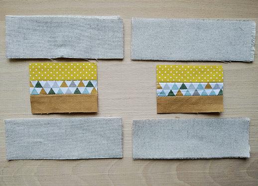 Ušité barevné proužky zkrátíme na 8 cm na šířku