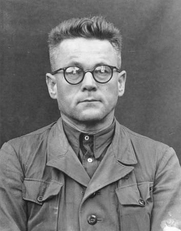 Obžalovaný Karl Gebhardt v Lékařském soudním procesu v Norimberku.