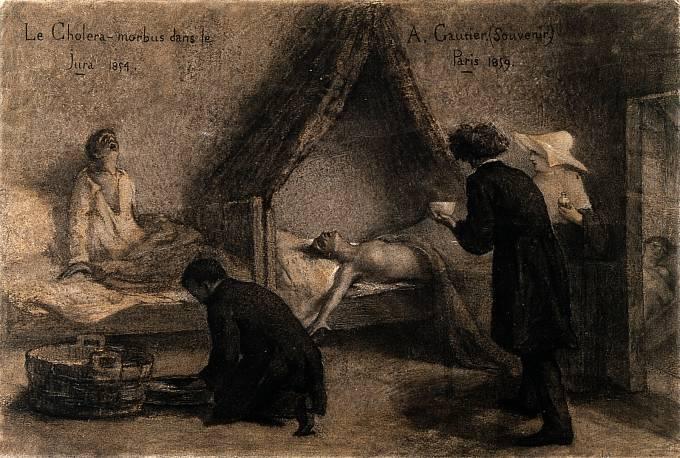 Kresba A. Gautiera z roku 1859 zachycuje nemocného cholerou.
