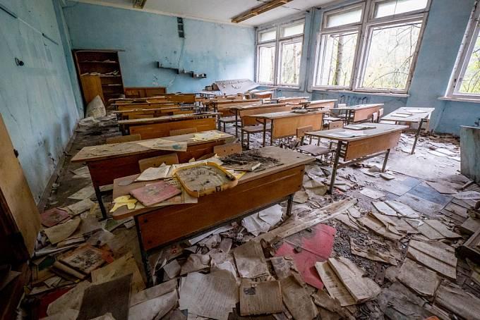 Opuštěná škola ve městě Pripjať u Černobylu
