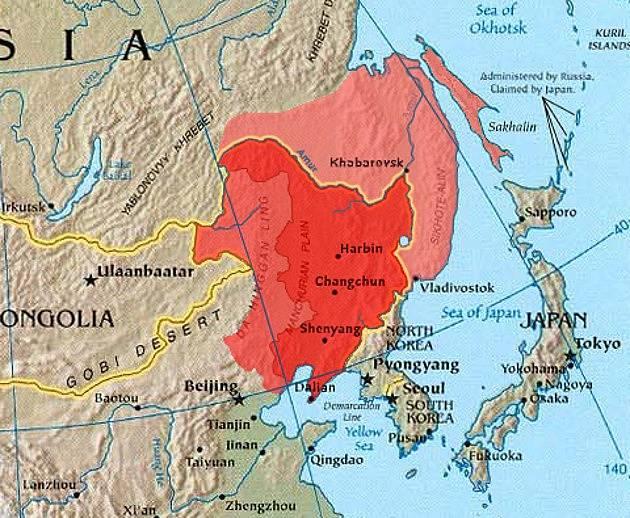 Poloha Mandžuska na mapě