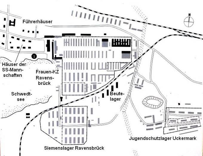 Koncentrační tábor Ravensbrück, mapa celého areálu. Ravensbrück byl místem lékařských experimentů.  Od září 1942 do prosince 1943 tam byly prováděny ortopedické pokusy.