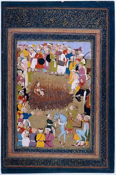 Obřad Satí, autor malby: Mohammad Rizā